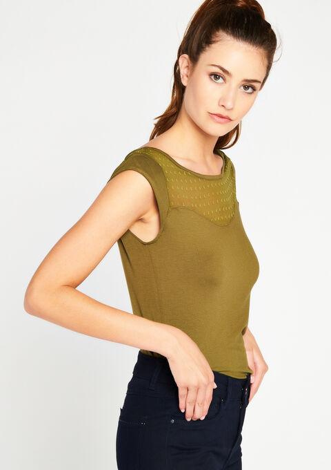T-shirt met insert in plumetis - BOLD KHAKI - 02005557_1879