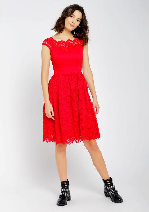 Robe de soirée en dentelle - FIERY RED - 08101552_1380
