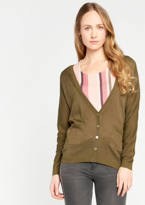 Basic cardigan - DARK OLIVE - 04100584_1886