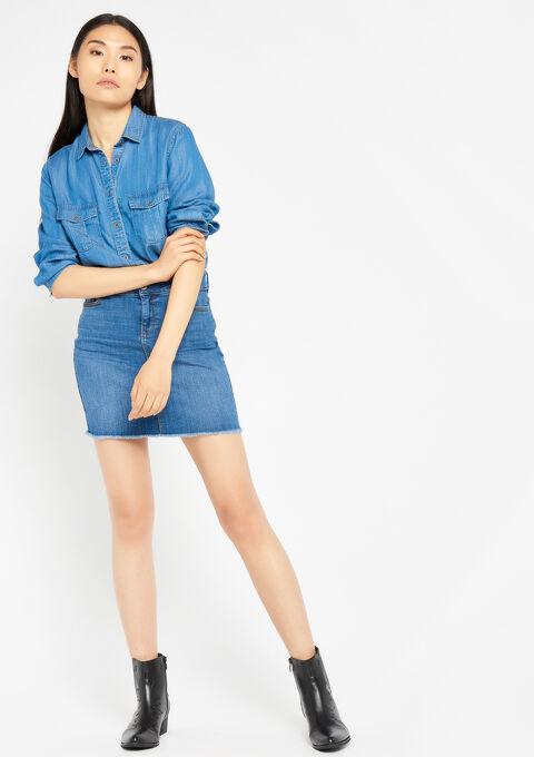 Jeansrok met hoge taille en rafels - MEDIUM BLUE - 07100072_500