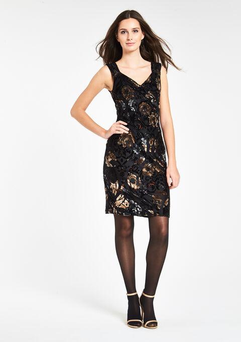 fcc5920b5a748e Fluwelen jurk met wikkeleffect - BLACK - 08005568 1119