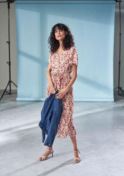 Cache-coeur jurk met bloemenprint - LIGHT PINK - 08102154_1303