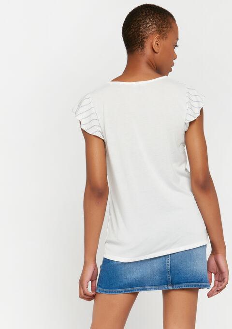 T-shirt rayures lurex - WHITE ALYSSUM - 02300436_2502