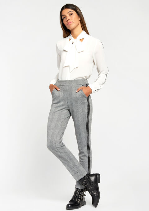 Pencil trousers with checked print - BLACK - 06100140_1119