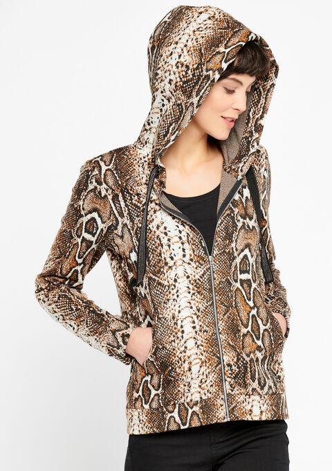 Hoody cardigan met python print - BROWN SHELL - 03001327_3703