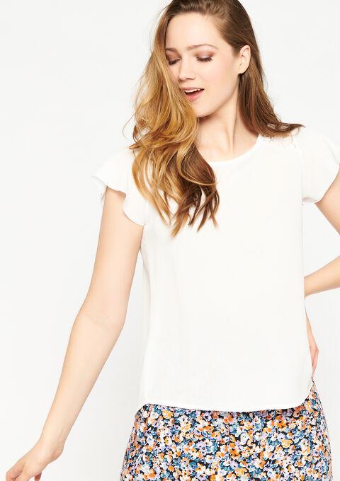 T-shirt ruche mouwen - NATURAL WHITE - 05701416_2510