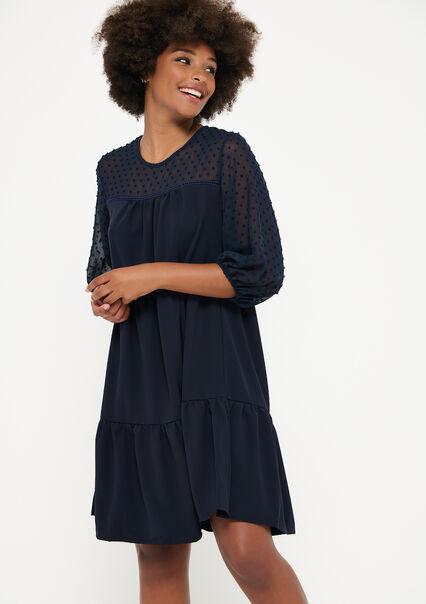 Babydoll jurk met plumetis - NAVY BLUE - 08102677_1651
