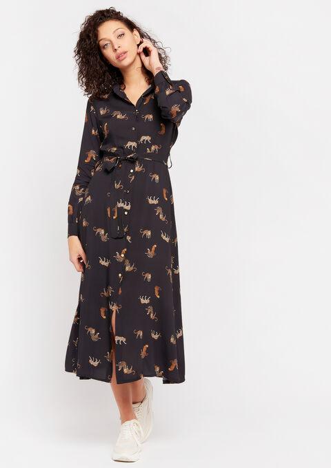 Hemd jurk met dierenprint - BLACK - 08601061_1119
