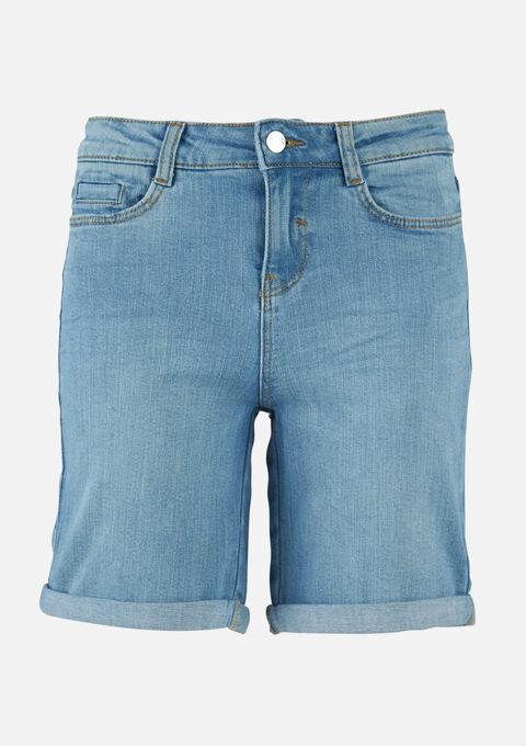 Halflange denim shorts - BLUE BLEACHED - 22000182_502
