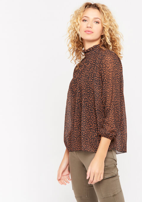 Plissé blouse met dierenprint - CARAMEL - 05701243_1953