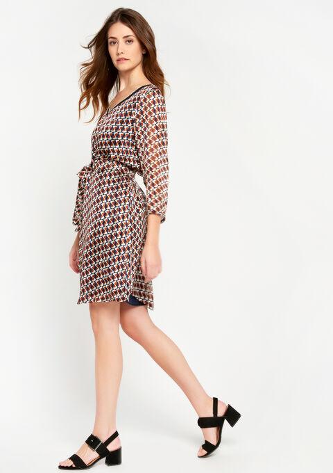Rechte jurk met grafische print - NAVY MILD - 08100568_2712