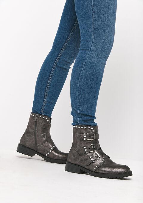 Laarzen met gespen en zilveren parels - GREY - 13100044_1062