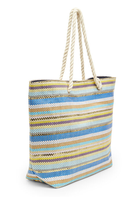 Striped beach bag + smaller bag - BLEU LAVANDE - 939435