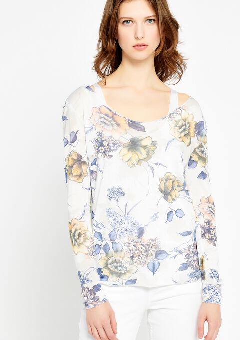 T-shirt met boothals, bloemenprint - WHITE ALYSSUM - 937911