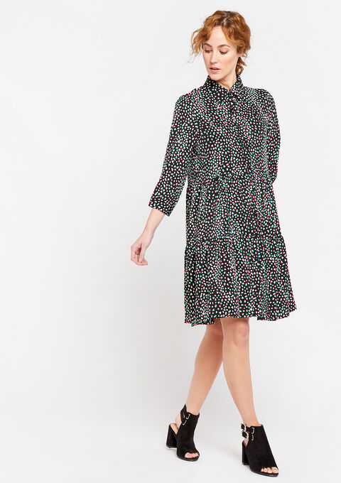 Robe babydoll imprimé léopard - BLACK & WHITE MEL - 08102157_1084