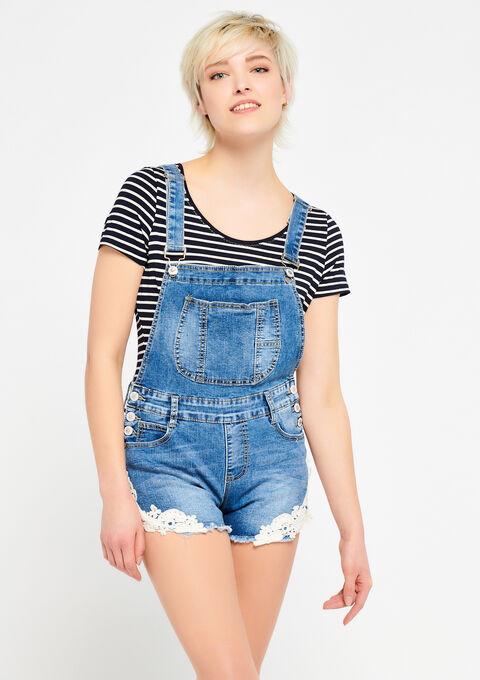Short-salopette in jeans - MEDIUM BLUE - 22000138_500