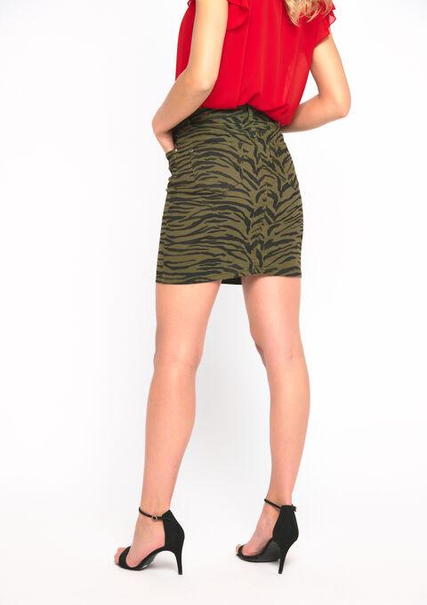 Mini jupe imprimé zèbre - KHAKI ARMY - 07100242_4314