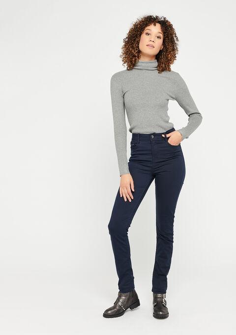 Slim fit broek met hoge taille - NAVY SHADOW - 06003891_2713
