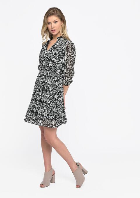 Plissé-jurk met bloemenprint - BLACK BEAUTY - 08102147_2600