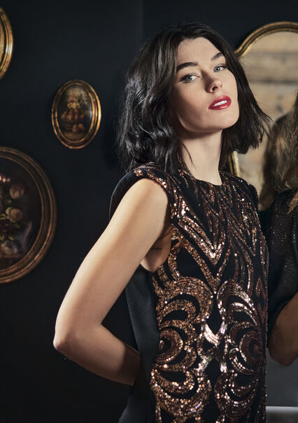 Mini jurk met pailletten patroon - COPPER - 08102408_6301