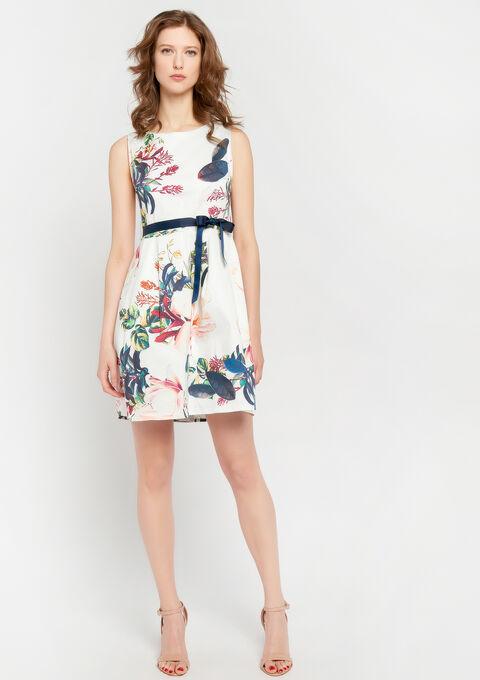 A-lijn jurk met bloemenprint - WHITE ALYSSUM - 08100600_2502