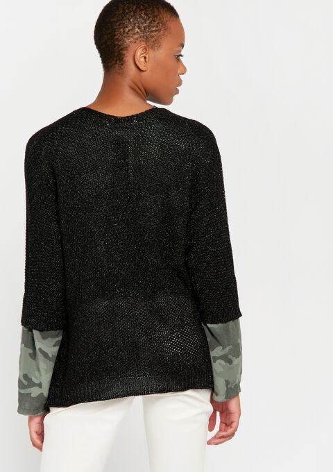 Cardigan vleermuismouwen lurex - BLACK - 964263