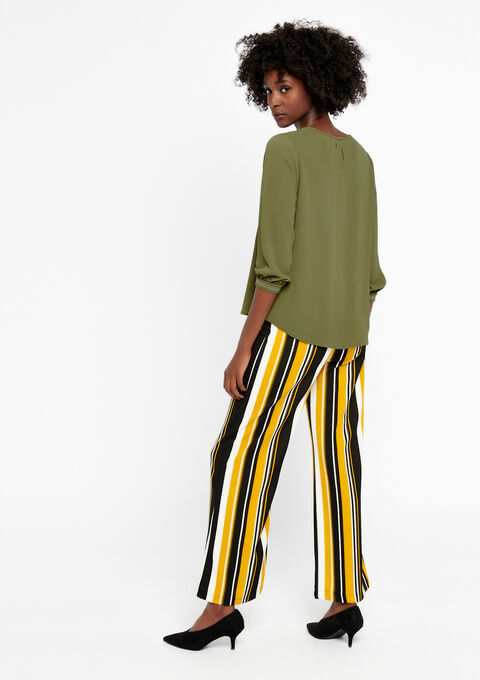 Effen blouse met v-hals - KHAKI DARKY - 05700155_4208