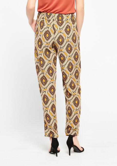 Losse broek met etnische print - GOLDEN OCHER - 938981