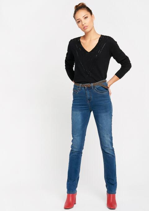 Jeans droit avec ceinture - DARK BLUE - 22000123_501