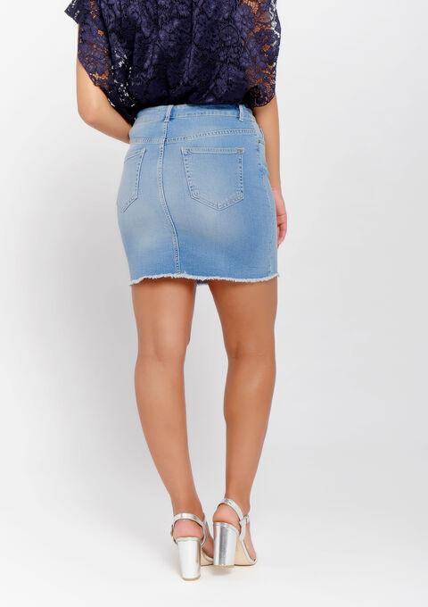 Jupe en jeans - BLUE BLEACHED - 07100253_502
