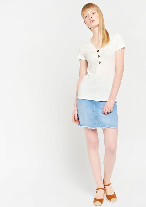 T-shirt met v-hals & knopen - WHITE ALYSSUM - 02300247_2502