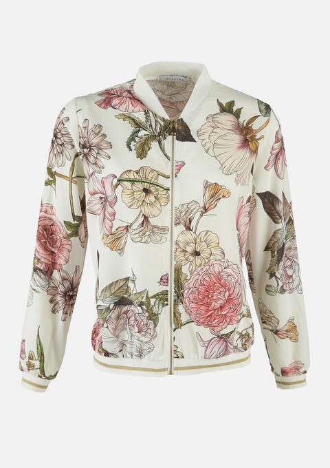 Bomber jas met bloemenprint - OFFWHITE - 09100438_1001