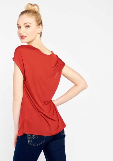 T-shirt met slogan - RED CINNABAR - 02300146_5305