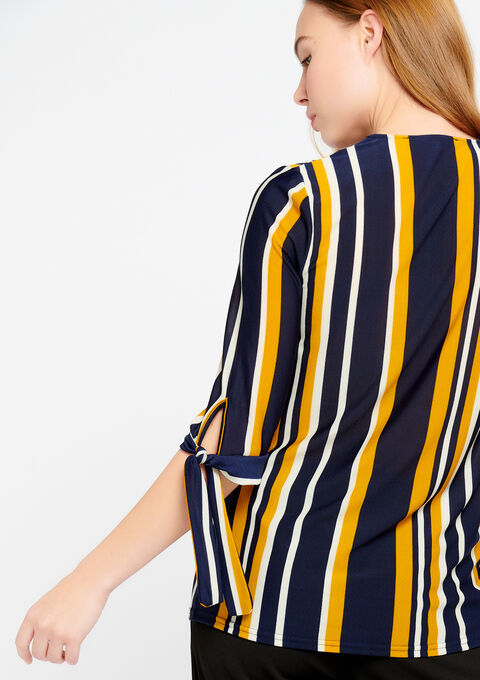Gestreept t-shirt met v-hals - NAVY BLUE - 02300162_1651