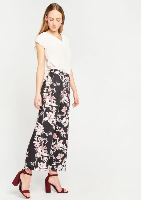 Broek met wijde pijpen en bloemenprint - BLACK - 936912