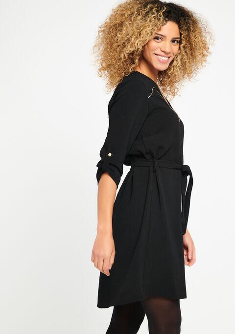 Plain dress with v-neck - BLACK - 08100274_1119