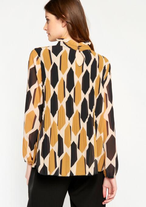 Plissé-blouse met opstaande kraag - LEMON CURRY - 05700295_1237