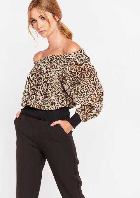 Blouse off-shoulder met luipaardprint - CAMEL ALMOND - 05701281_3807