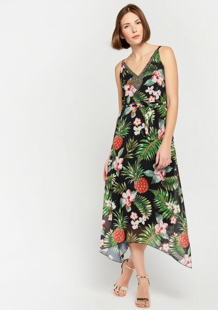 9a1419aeee446d ... Lange jurk met tropische print - GREEN GARDEN - 08600141 4607