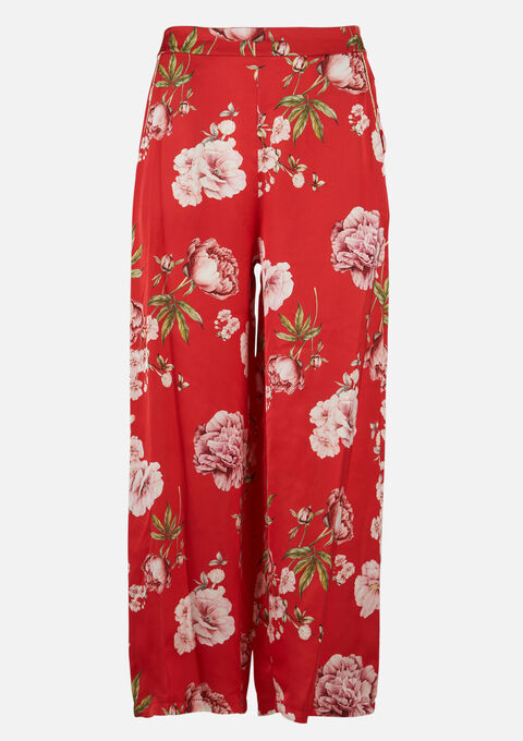 Losse broek met bloemenprint - BRIGHTY RED - 06600372_5316