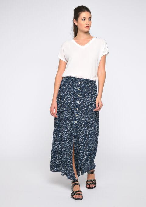 Longue jupe imprimé liberty - NAVY BLUE - 07100274_1651
