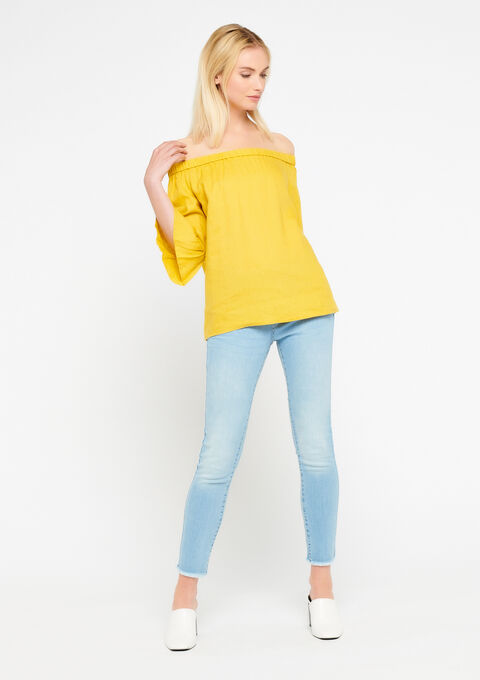 Linnen blouse met open schouders - LEMON CURRY - 924391