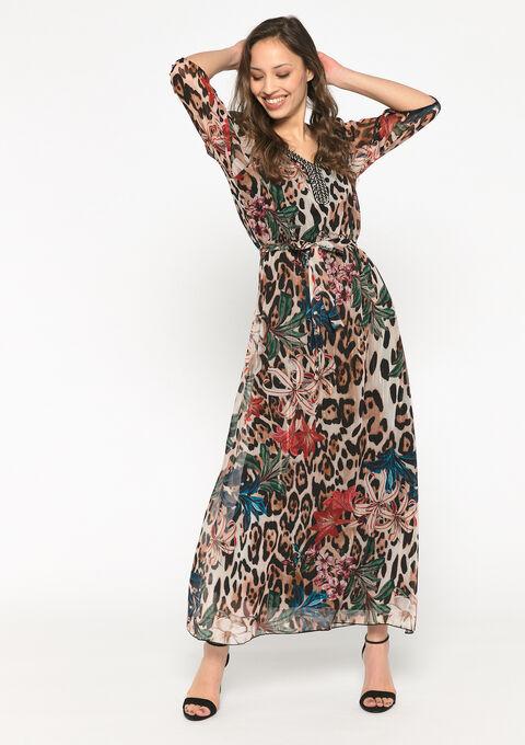 Luipaardprint jurk met juwelen hals - BEIGE BIRCH - 08601085_1929