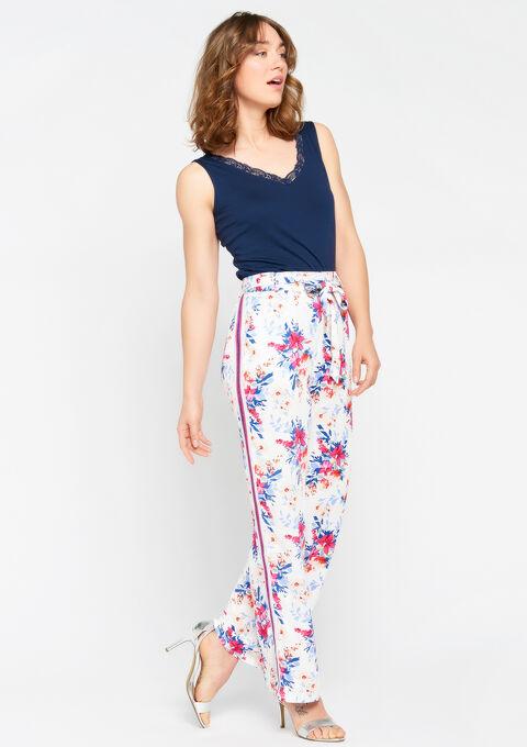 Broek met wijde pijpen, bloemenprint - WHITE ALYSSUM - 06600073_2502