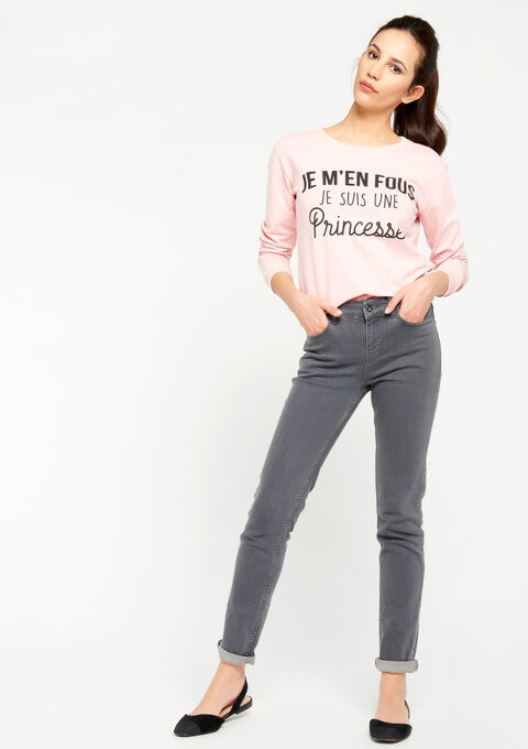 Sweater met prinsessen-quote - PINK CALM - 03001354_4102