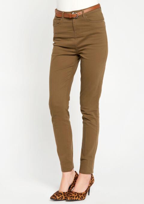 Slim fit broek met hoge taille - TAUPE LINEN - 06003764_3903