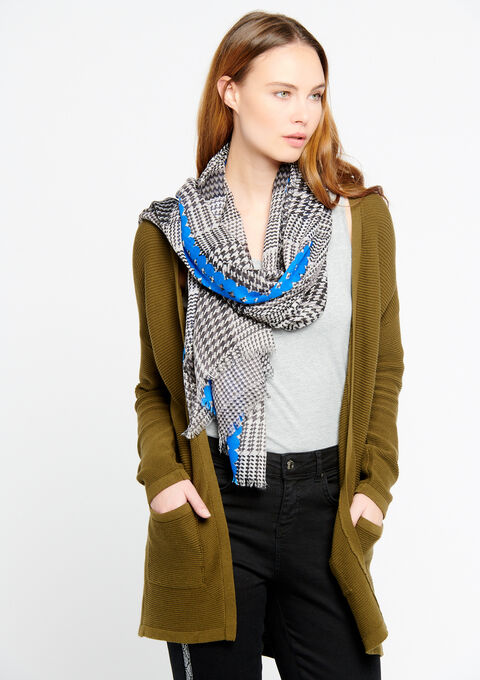 Scarf with checked print - ELECTRIC BLUE - 930952