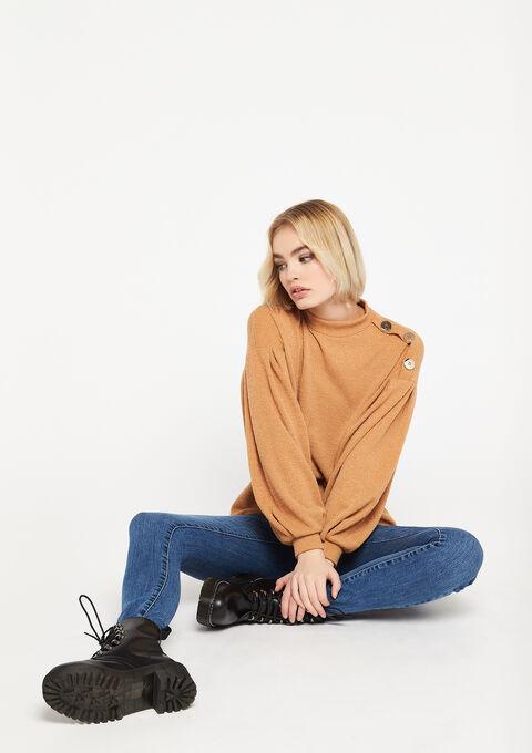Sweatshirt with balloon sleeves - TOASTED BEIGE - 03001477_4020