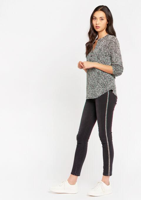 Luipaard blouse met oosterse kraag - NATURAL WHITE - 02300619_2510