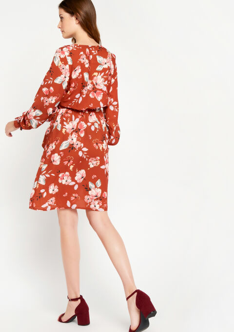 Cache coeur jurk met bloemenprint - CAMEL TRUSH - 08100463_3808